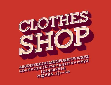 Vector cool angled Alphabet with Logotype Clothes Shop. Set of vintage 3D Letters, Numbers and Symbols