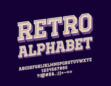 Vector rotated Retro Alphabet set. Vintage Letters, Numbers and Symbols