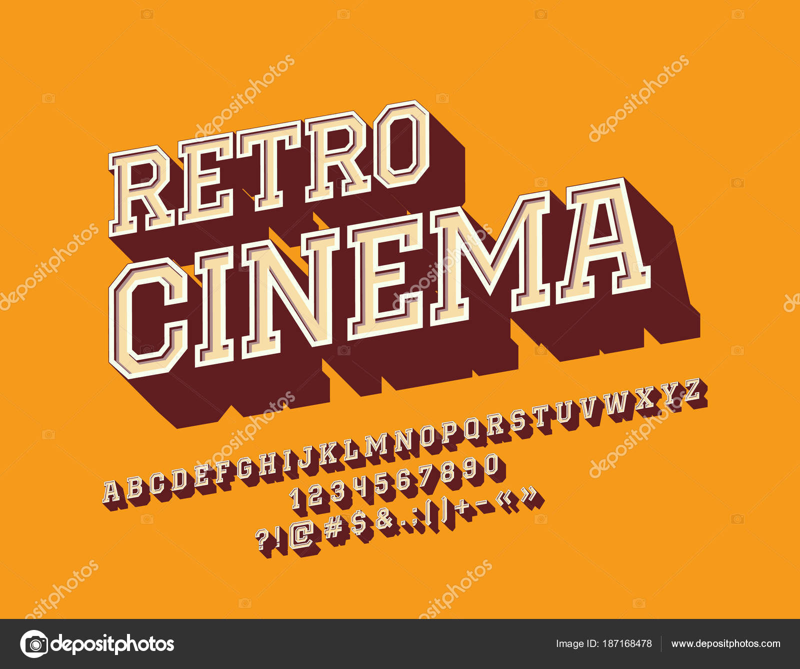 Vector rotated sign retro cinema stylish font vintage alphabet vector rotated sign retro cinema with stylish font vintage 3d alphabet letters numbers and symbols vector by dgbomb buycottarizona Gallery