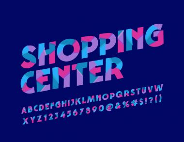 Vector Slice pattern bright Logotype for Shopping Center. Colorful Font. Abstract cool Alphabet Letters, Numbers and Symbols