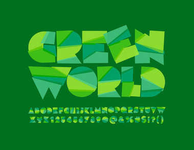 Vector sliced Eco Logotype Green World. Abstract geometric Font. Set of Modern pattern Alphabet Letters, Numbers and Symbols