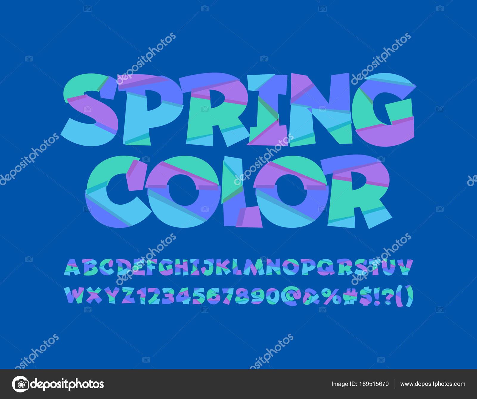 Vector Spring Color Funny Font Alphabet Children Mosaic Letters ...