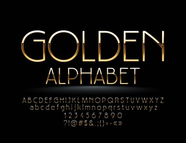 Vector Golden Alphabet. Chic thin Font. Elegant Letters, Numbers and Symbols