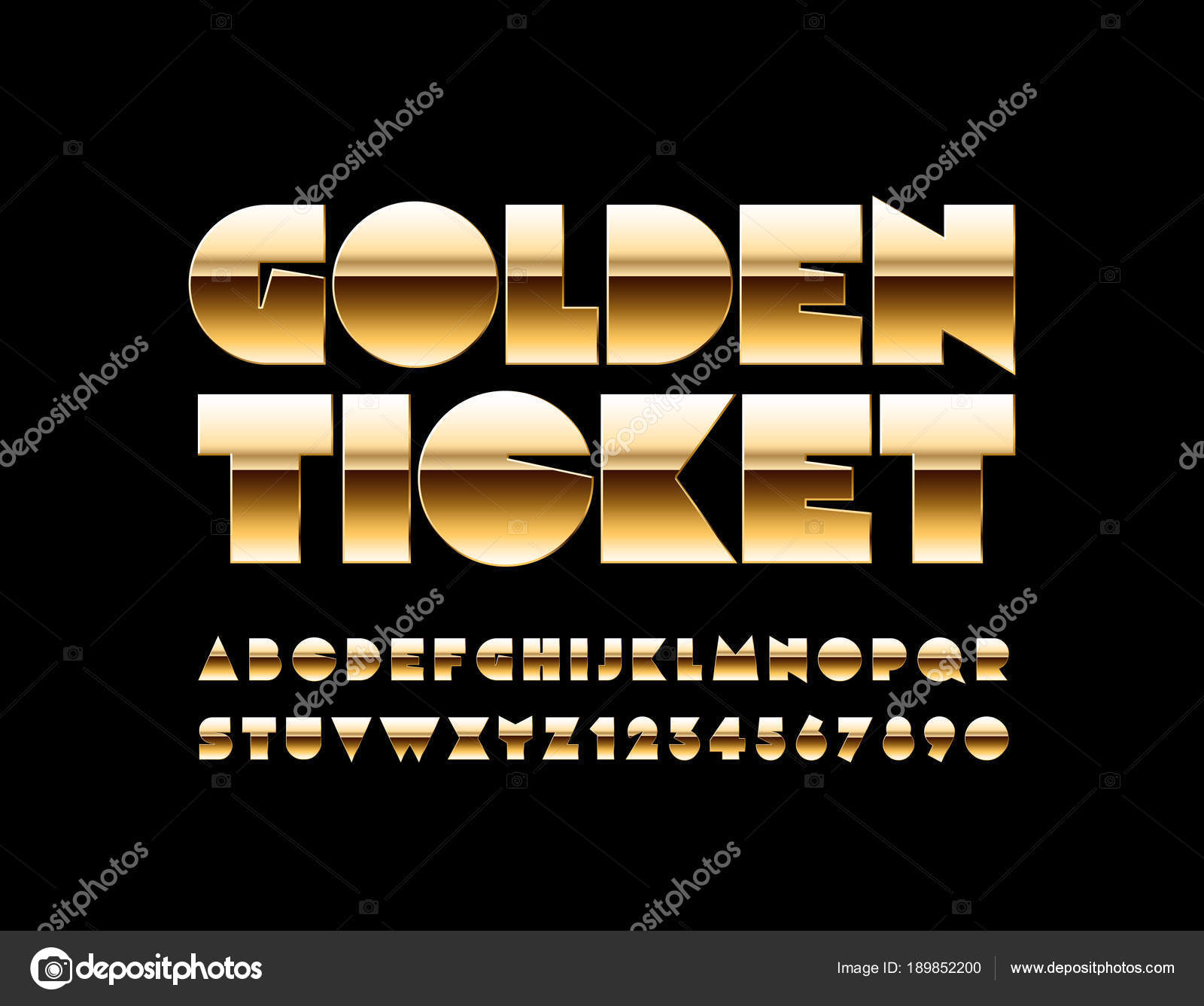 Vector Luxury Text Golden Ticket Exclusive Rich Font Amazing Extra