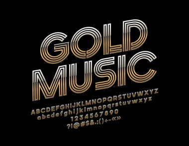 Vector logo Gold Music with Font. Abstract pattern luxury Alphabet Letters, Numbers and Symbols