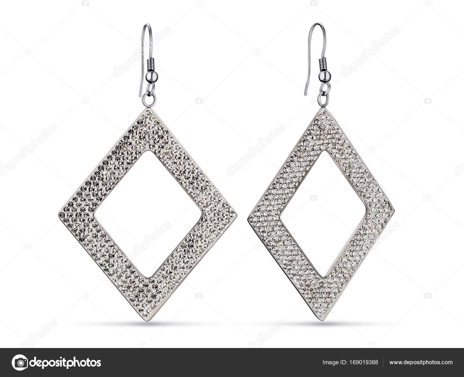c68d21d8224a Forma de rombo de hermosos aretes de plata — Fotos de Stock ...