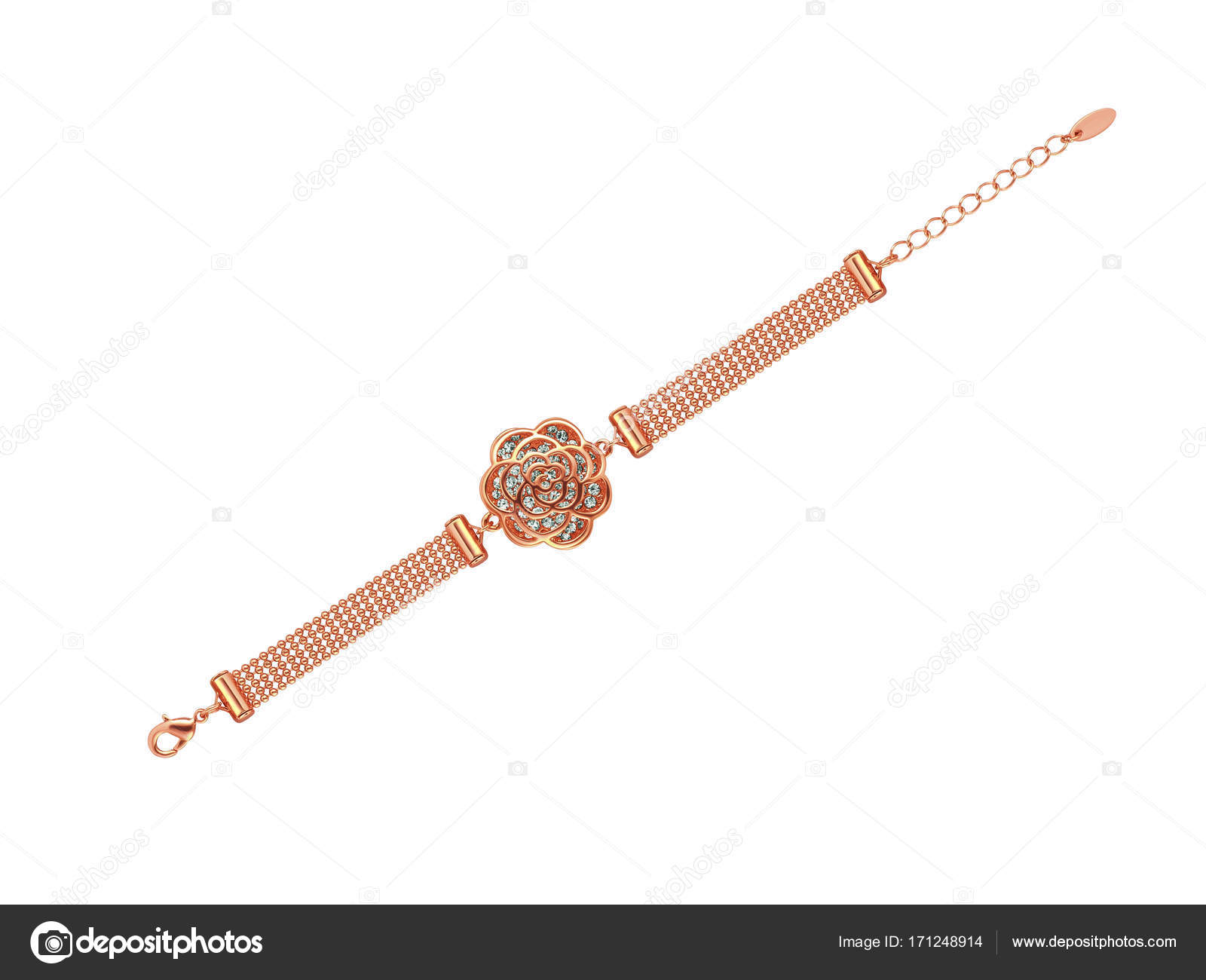 Beautiful rose gold Bracelet with diamonds and delicate flower
