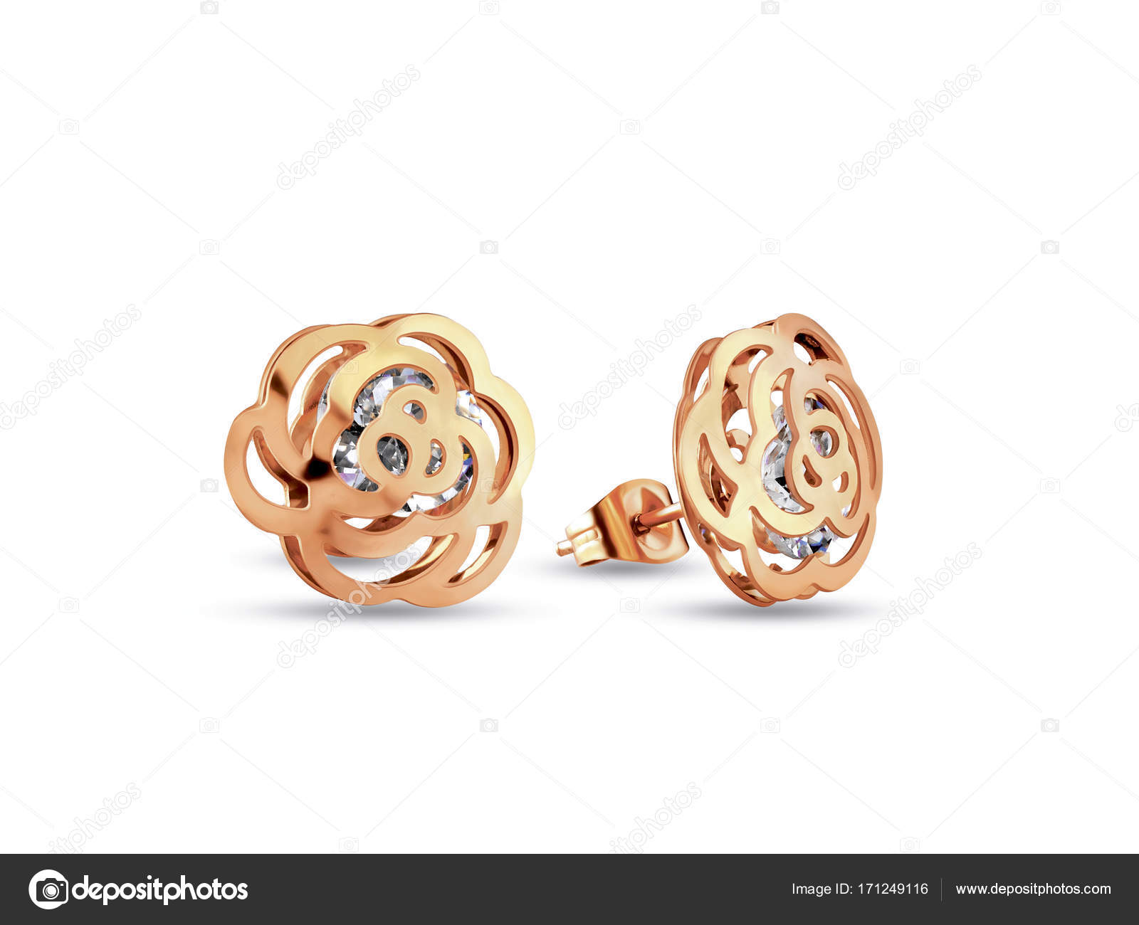 Golden earrings small size flower shape with diamonds jewelry on