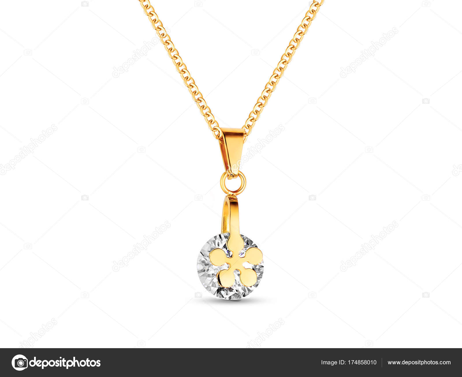 Golden necklace crystals white background rose gold single diamond golden necklace crystals white background rose gold single diamond pendant stock photo aloadofball Choice Image