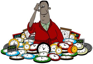 Illustration of a black man up to his waist in clocks for the daylight savings time change.