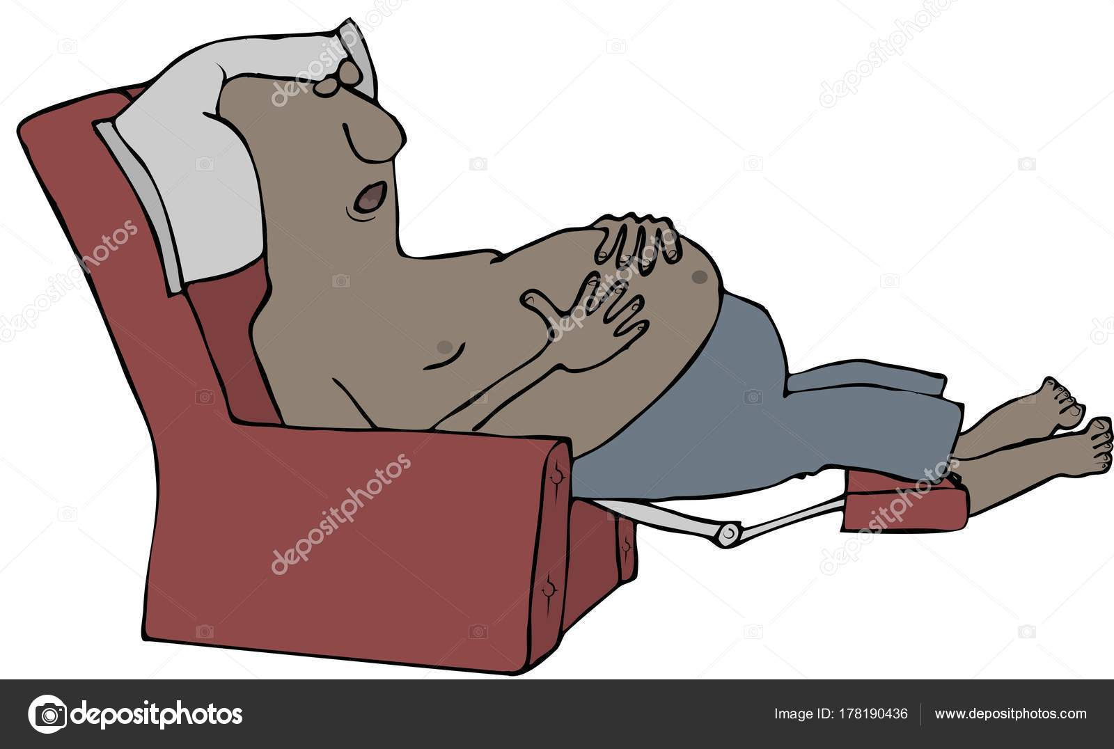 Super Picture Man Sleeping In Recliner Illustration Tired Pdpeps Interior Chair Design Pdpepsorg