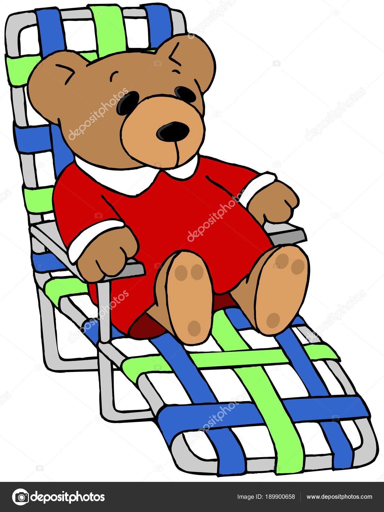 Mann im liegestuhl clipart  Abbildung Eines Spielzeugs Teddybär Liegestuhl Sitzen — Stockfoto ...