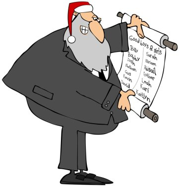 Illustration of a Jewish Rabbi wearing a Santa Claus hat and reading from a scroll that lists good boys and girls names.