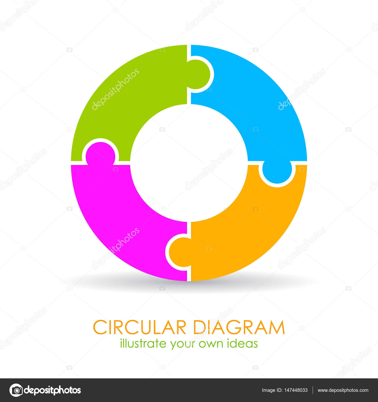 4 Steps Puzzle Cycle Round Diagram Template  U2014 Stock Vector