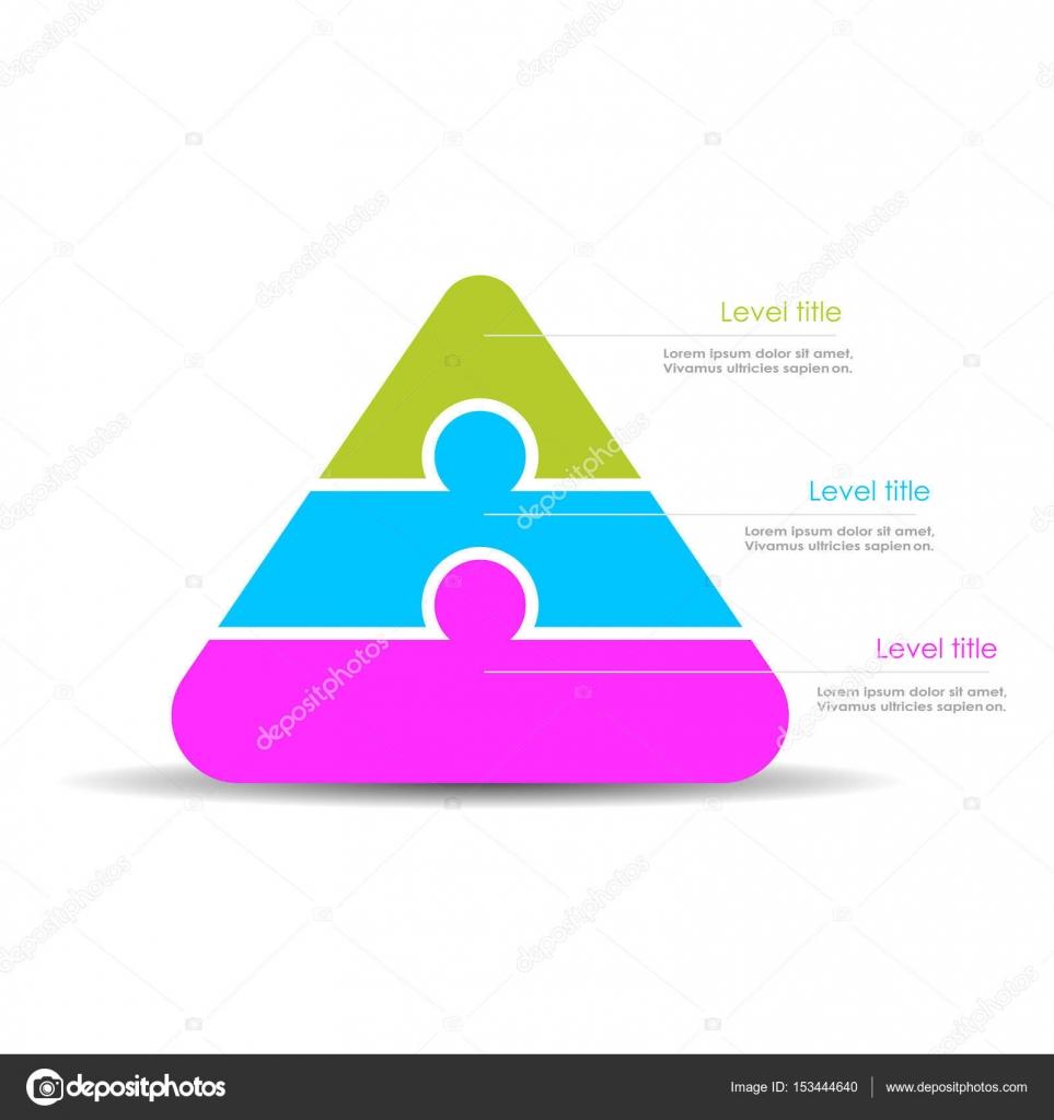 parte 3 capas plantilla de diagrama de pirámide — Vector de stock ...