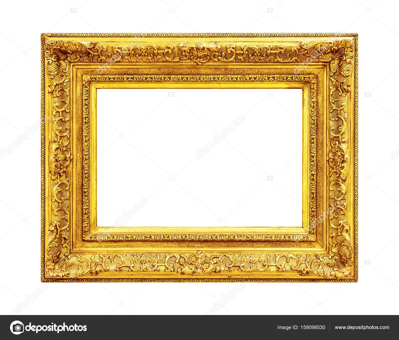 35d5555aec98 Ornate Gold Frame Isolated On White Background Stock Photo