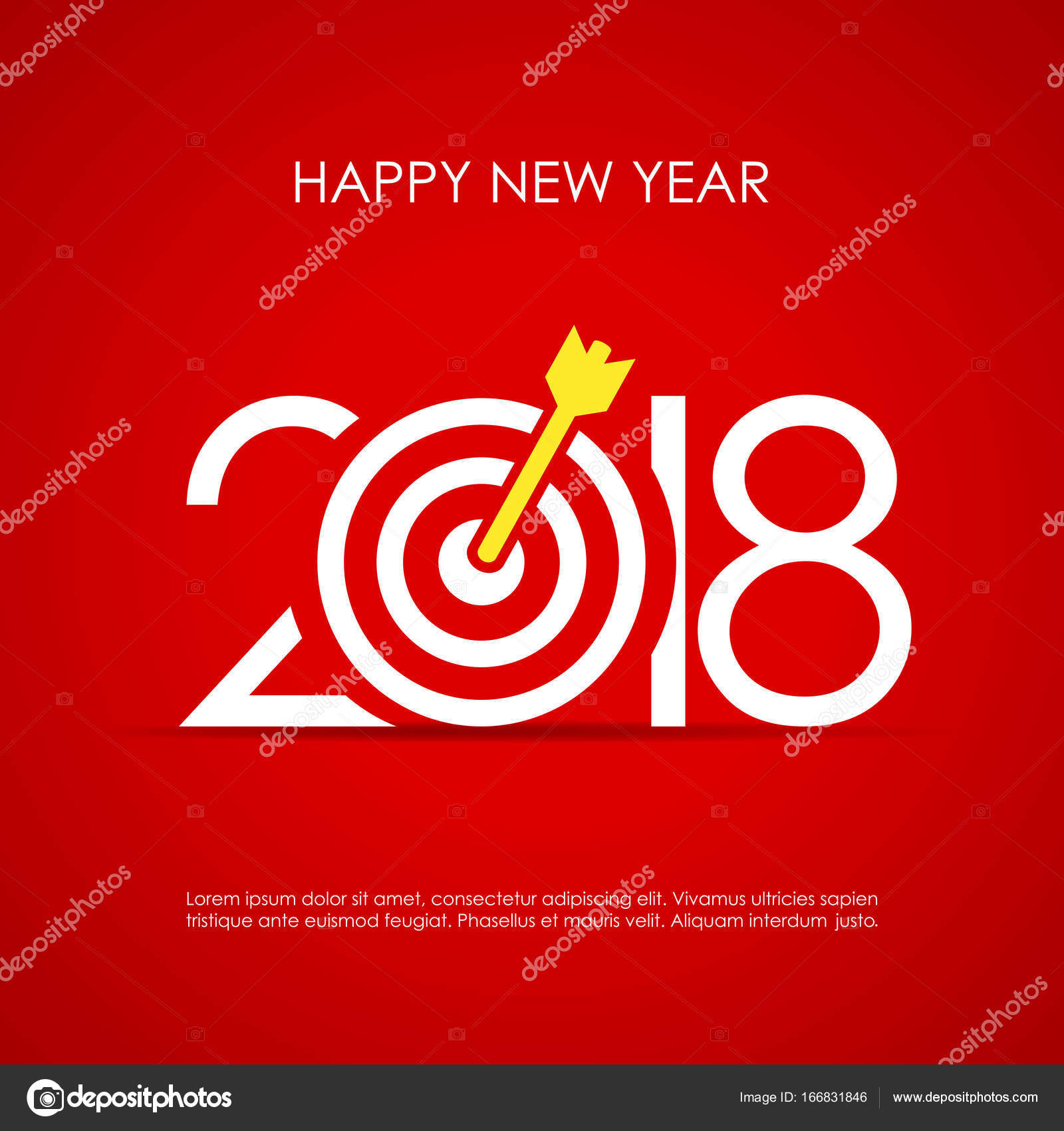 Happy 2018 New Year Greeting Card Design With Target Board Stock