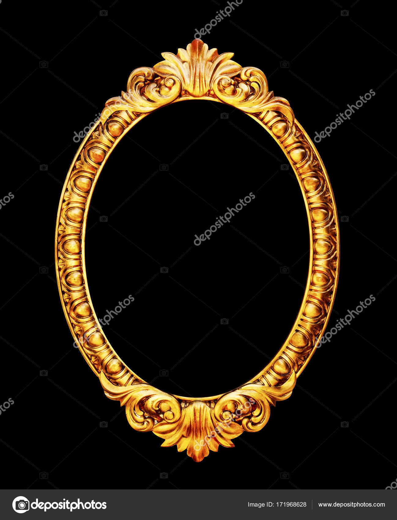 oval mirror frame. oval mirror frame photo isolated on black background \u2014 stock