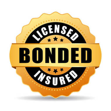 Licensed bonded insured vector gold medal illustration isolated on white background