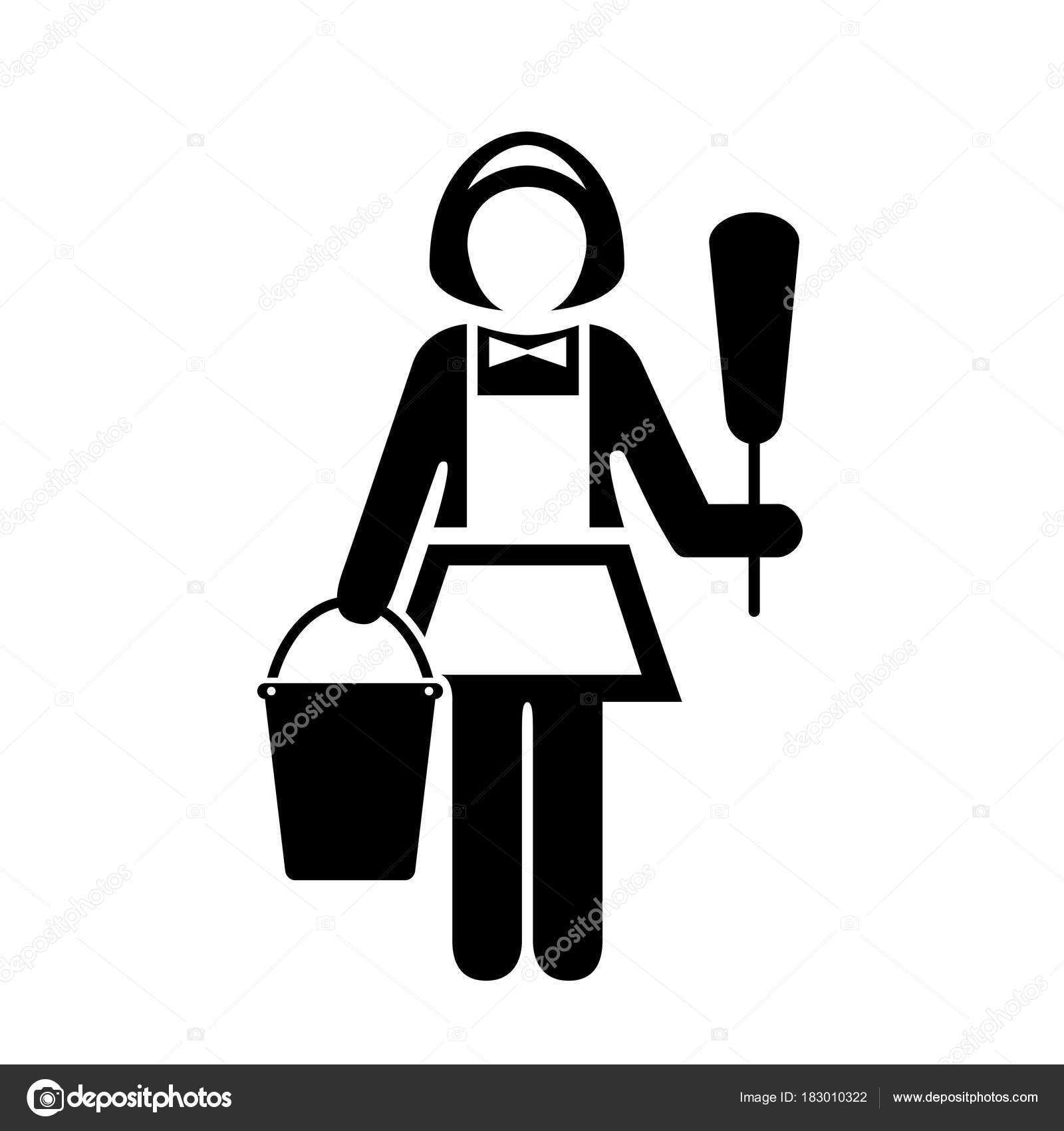 Maid with dust cleaner vector pictogram ⬇ Vector Image by © Arcady | Vector  Stock 183010322