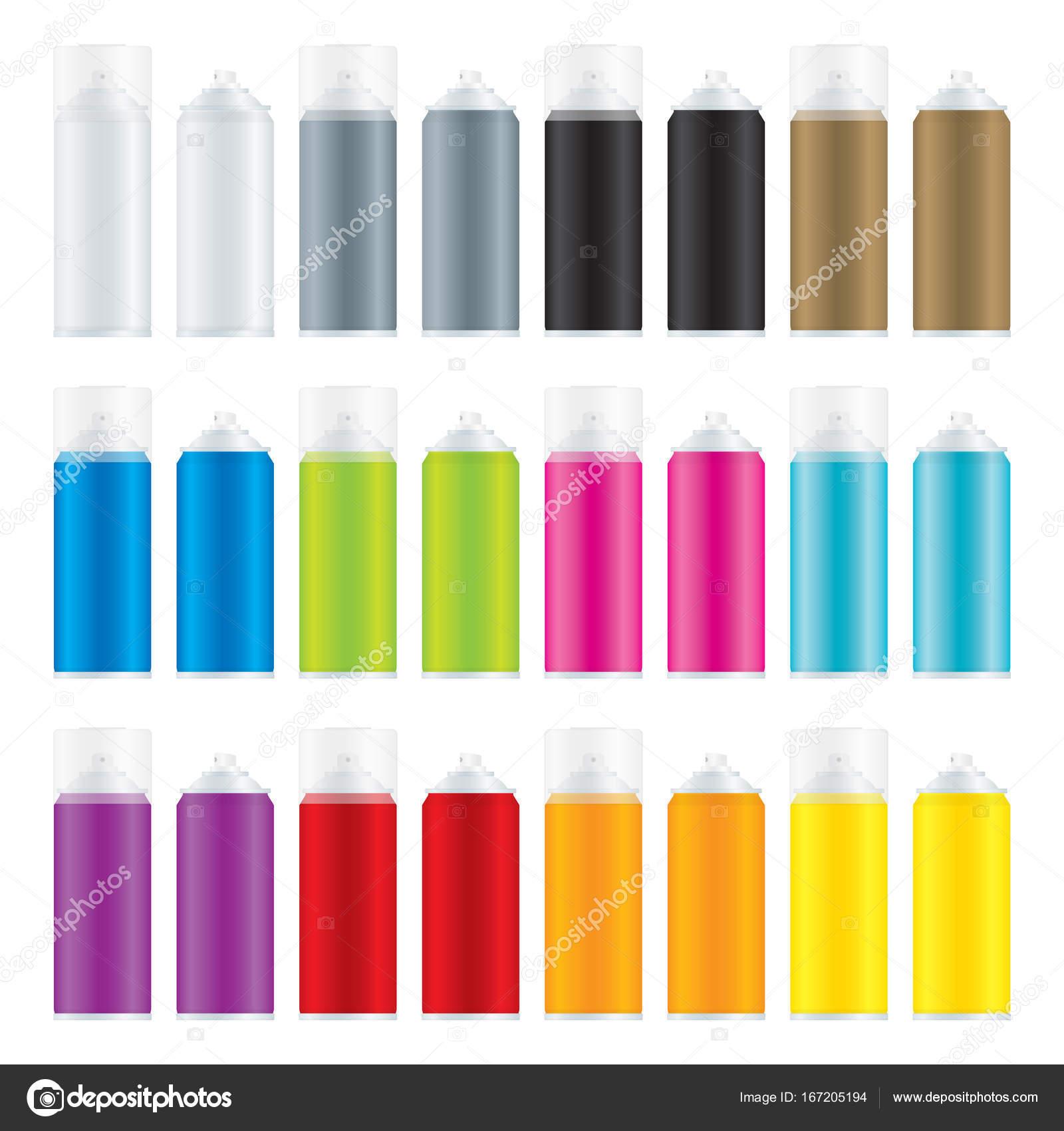 Spraydosen Farben.Lack Spraydosen Mit Verschiedenen Farben Stockvektor