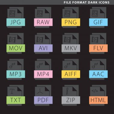File format dark icons