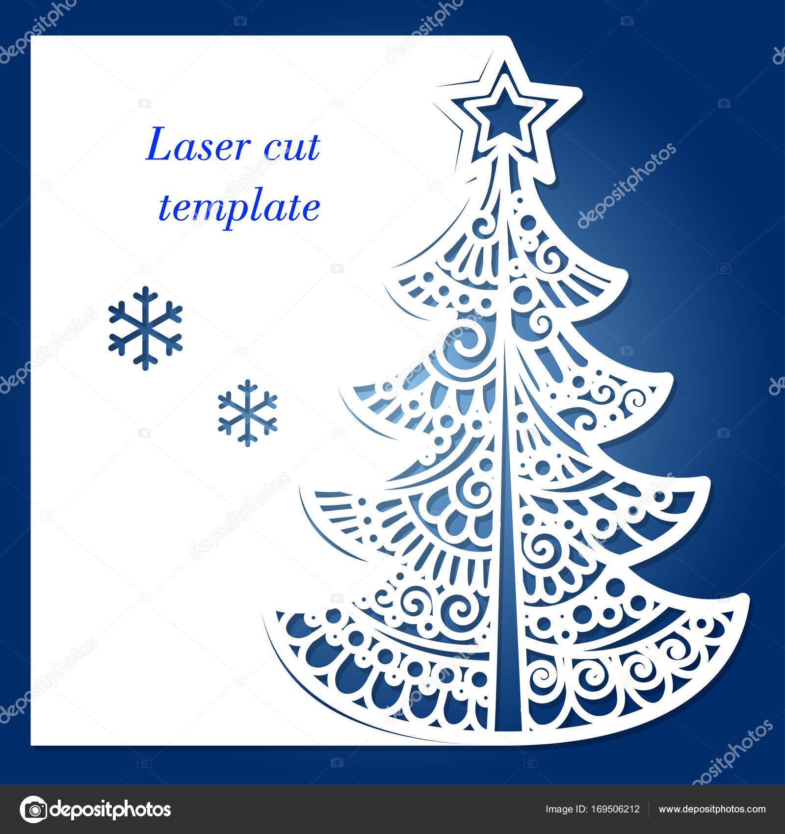 Laser-schneiden-Vorlage mit Weihnachtsbaum und Schneeflocken ...