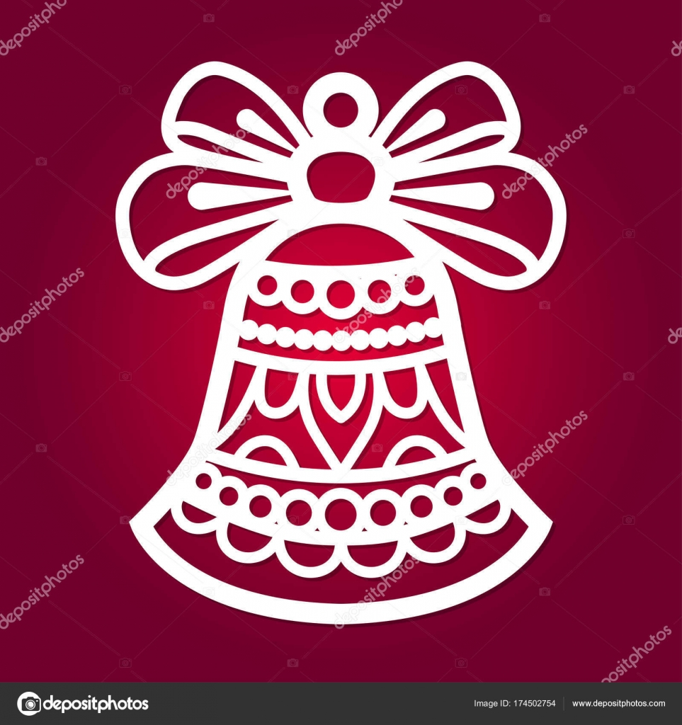 Christmas Bell With Bow A Template For Laser Cutting Stock