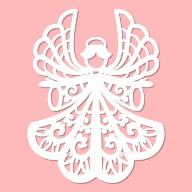 Beautiful, lace angel for laser cutting