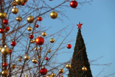 Christmas decorations on Red square in Moscow, selective focus. New Year tree with red star and toy balls on a branches, winter holidays in Russia