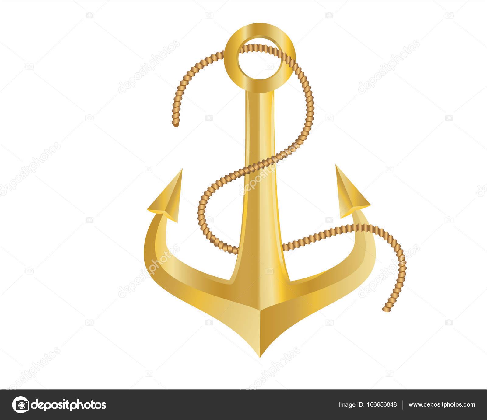 金の錨と白い背景の上のロープ ストックベクター Pinkshark 166656848