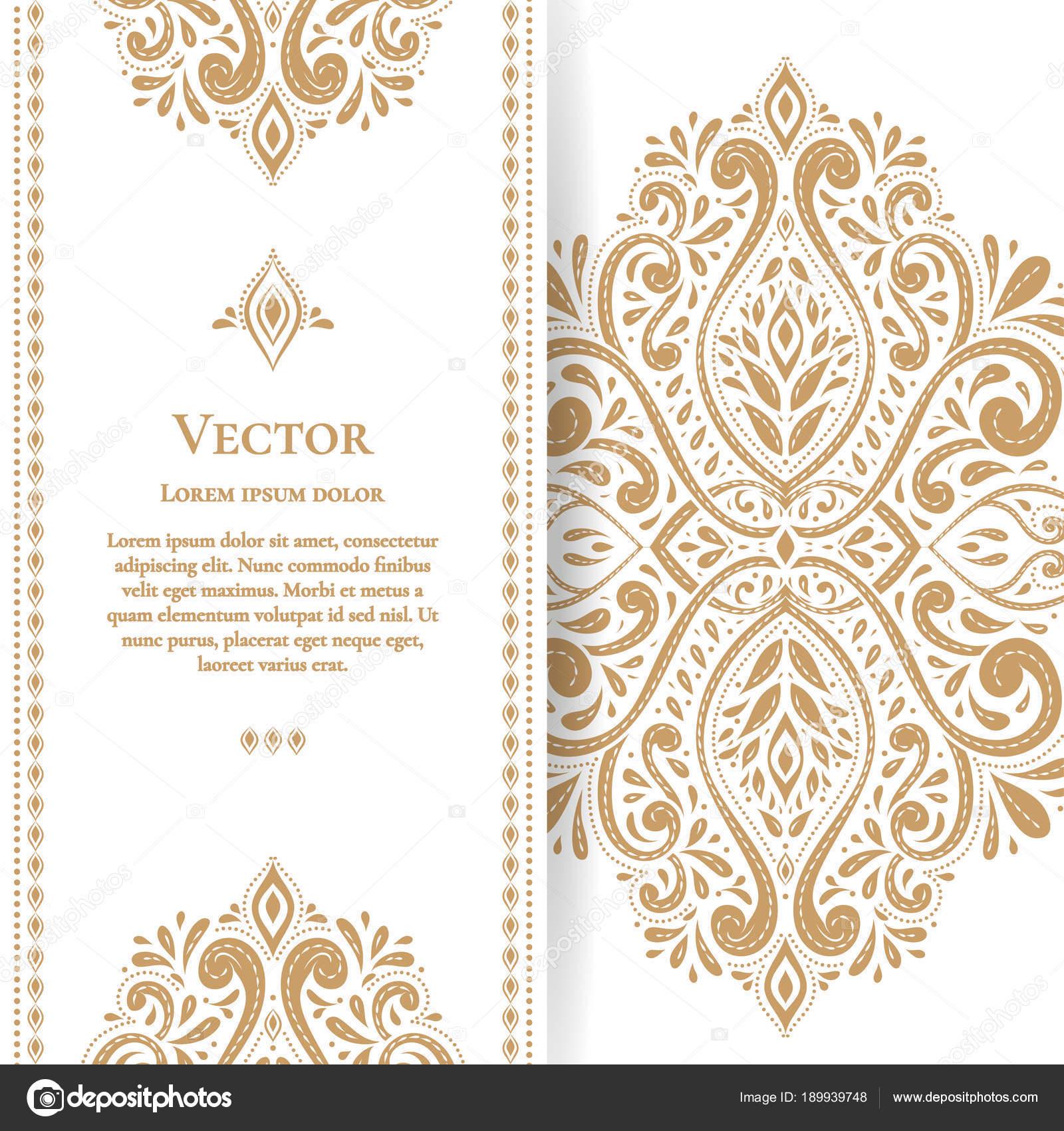 Schöne goldene Grußkarte mit gedeihen lässt. Luxus-Ornament-Vorlage ...