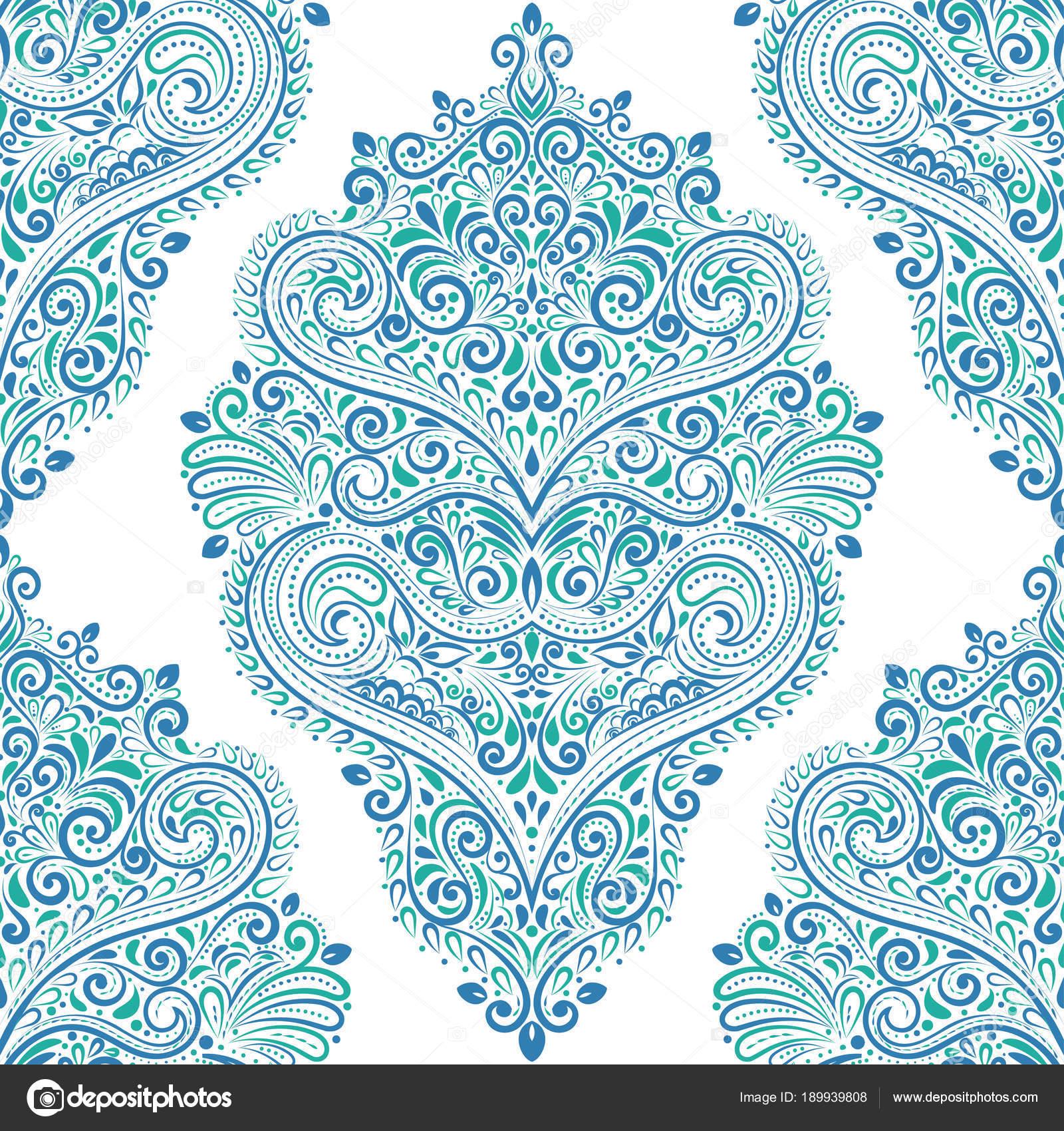 Oriental Bleu Et Vert Vintage Transparente Motif Elements De