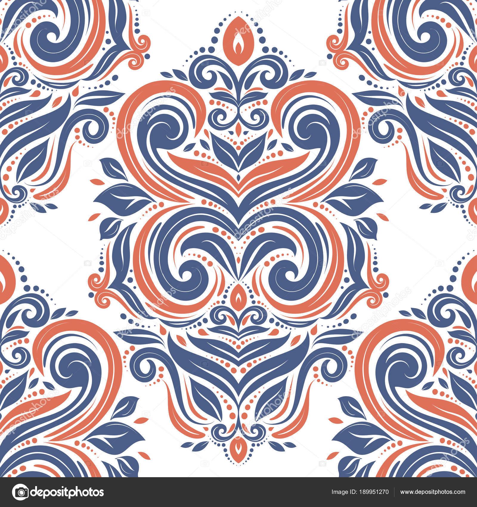 Beau Bleu Et Orange Transparente Motif Floral Vintage Traditionnel