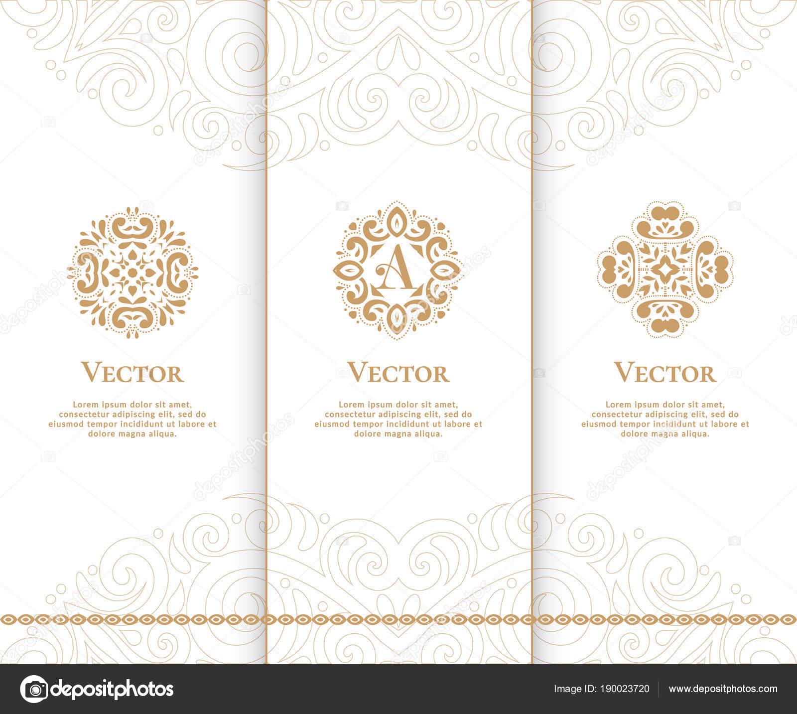 Satz von Luxus goldene Embleme. Vintage-Elemente. Einsetzbar für ...