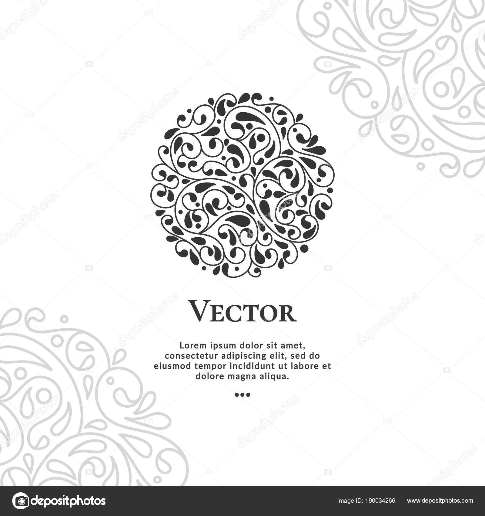 Schwarzer Kreis abstrakte Vektor Emblem. Abstrakte Linien ...