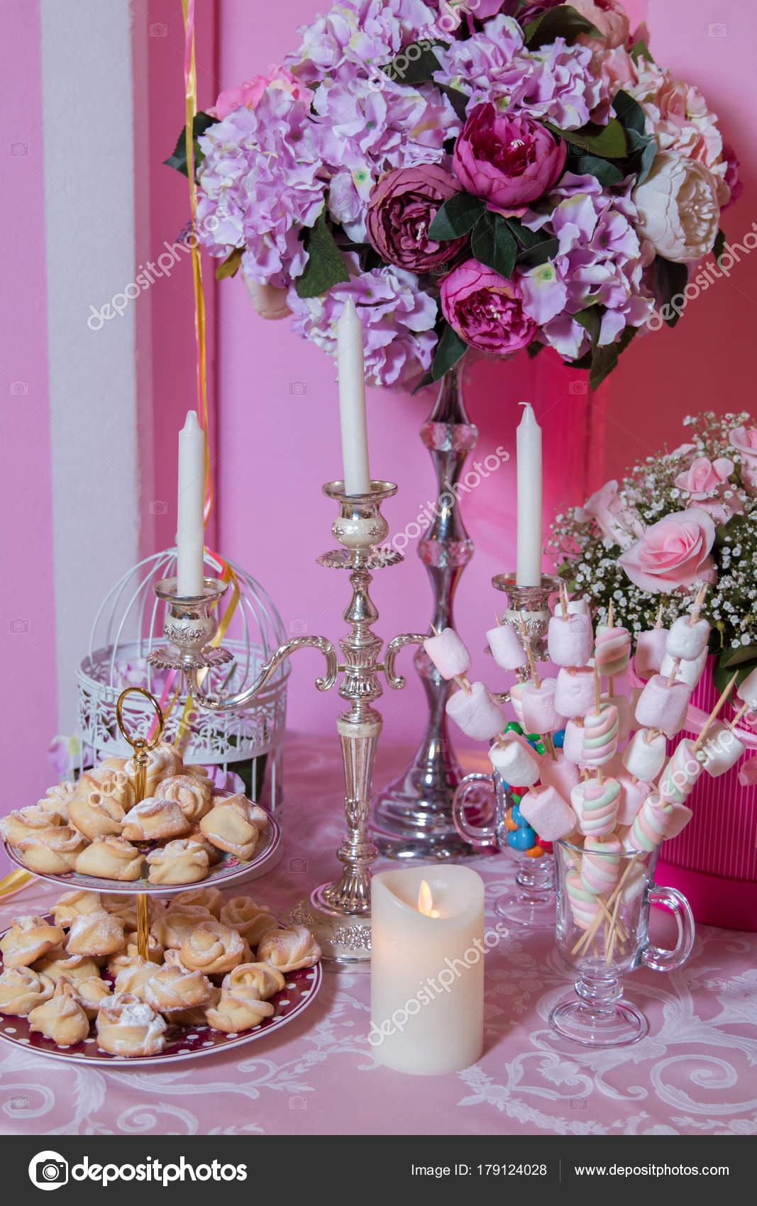 Candy Bar. Marshmallow skewers. Flower shape cookies . Flower flat ...