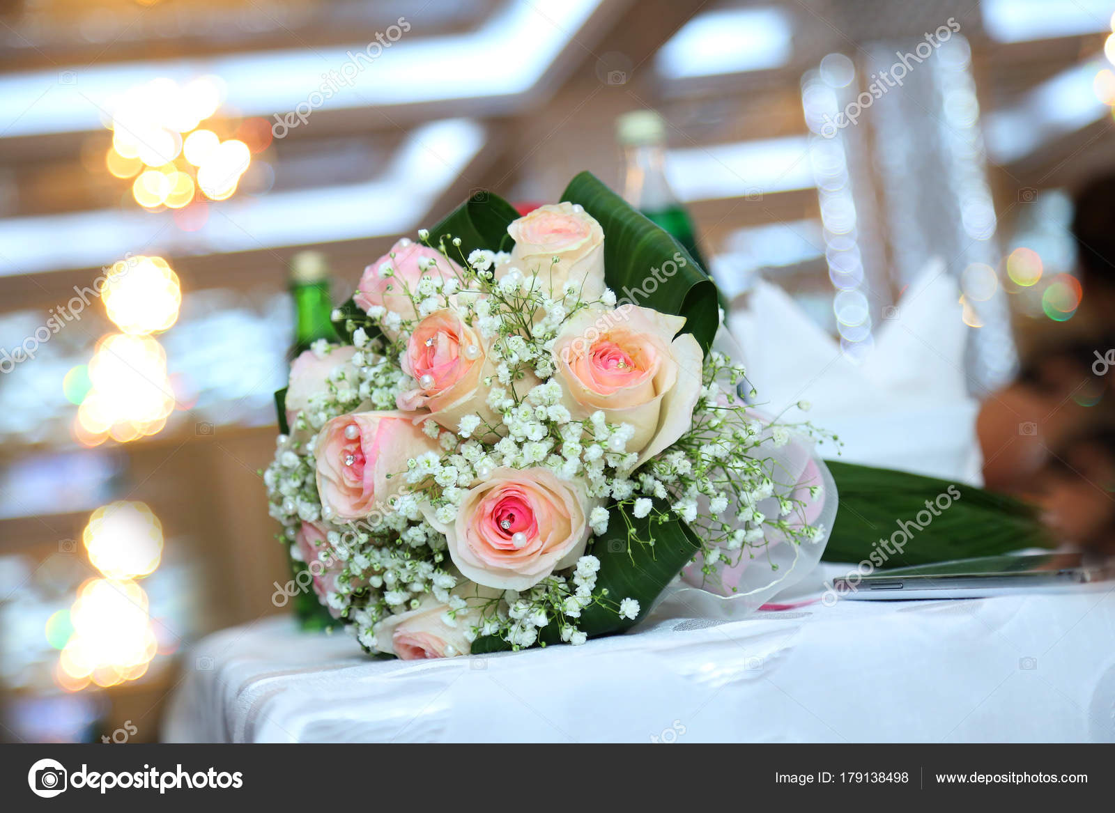 White wedding and engagement flower bouquet. Beautiful wedding ...