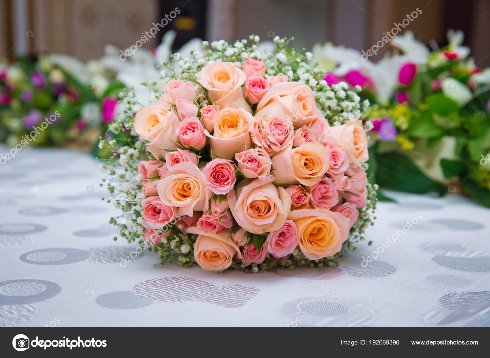Bridal Bouquet With Orange And Pink Roses Of Different Size With Handle On White Background Romantic Wedding Bouquet With Beautiful Flowers Stock Photo C Fotoqraf Tk Mail Ru 192069390