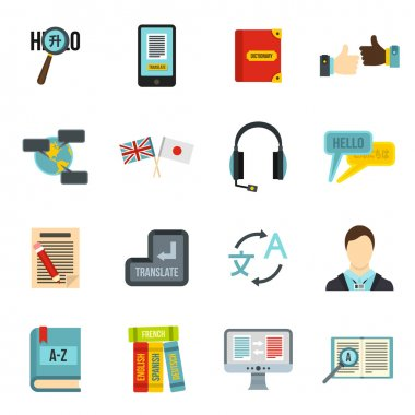 Learning foreign languages icons set, flat style
