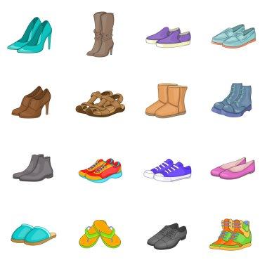Shoe icons set, cartoon style