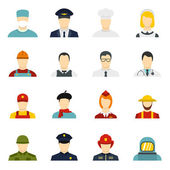 Professions icons set in flat style