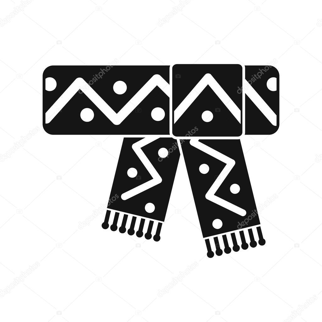 Bufanda hecha punto con icono de patrón, estilo simple — Vector de ...