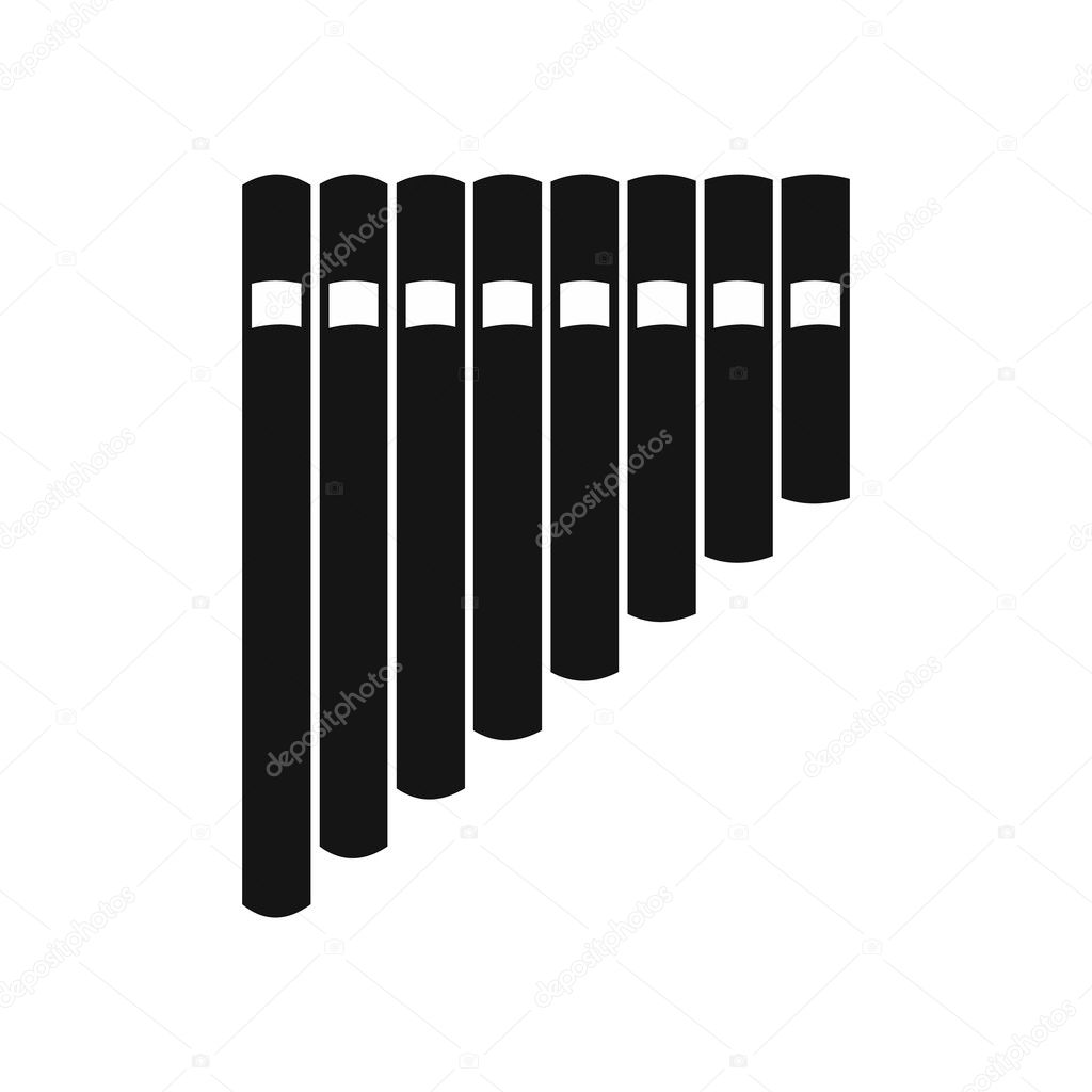 Pan flute icon, simple style