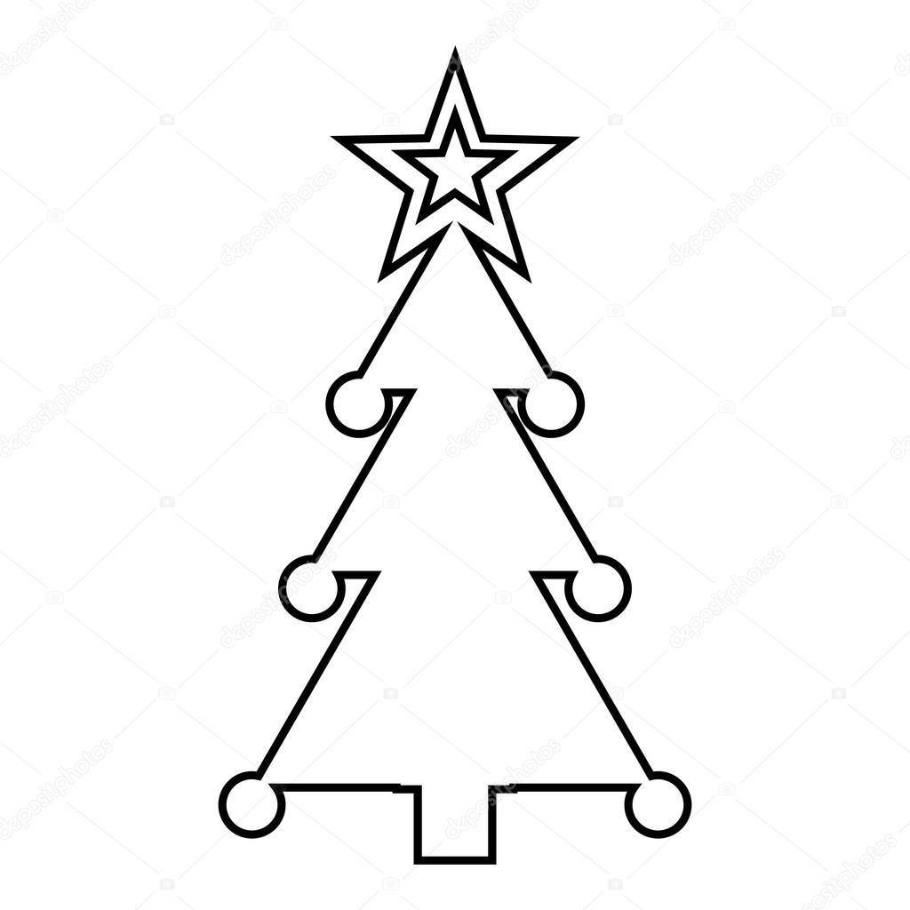 weihnachtsbaum mit spielzeug symbol umriss stil. Black Bedroom Furniture Sets. Home Design Ideas