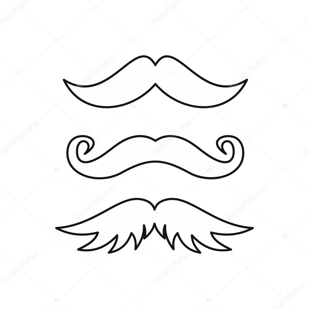 452e525ee072a Set of hipster mustache icon in outline style isolated on white background  vector illustration — Vector by ...