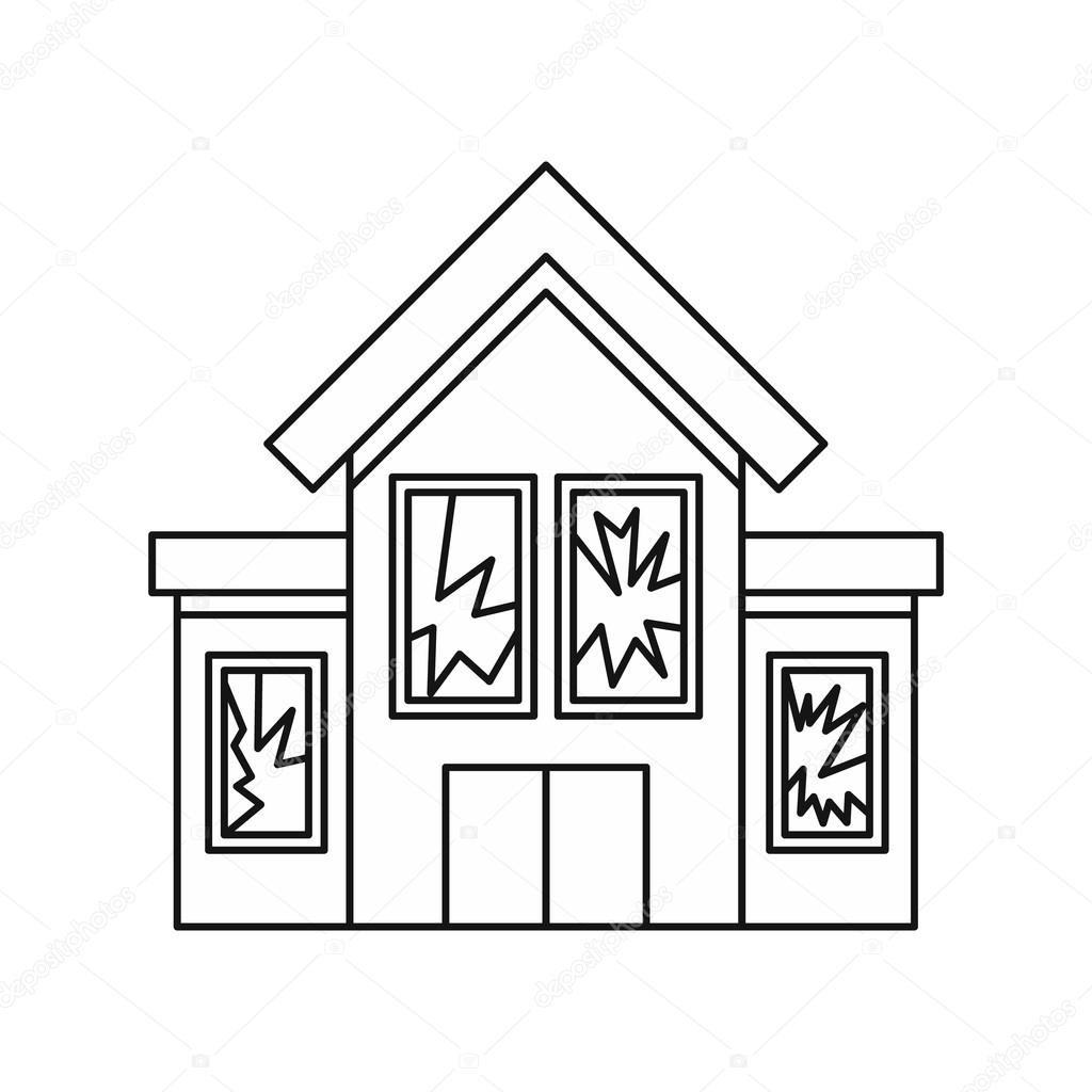 House outline picture - House With Broken Windows Icon Outline Style Stock Vector 125360976