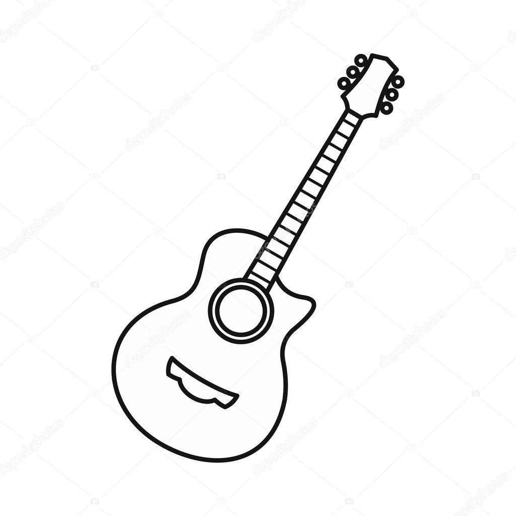 guitar icon  outline style  u2014 stock vector  u00a9 ylivdesign