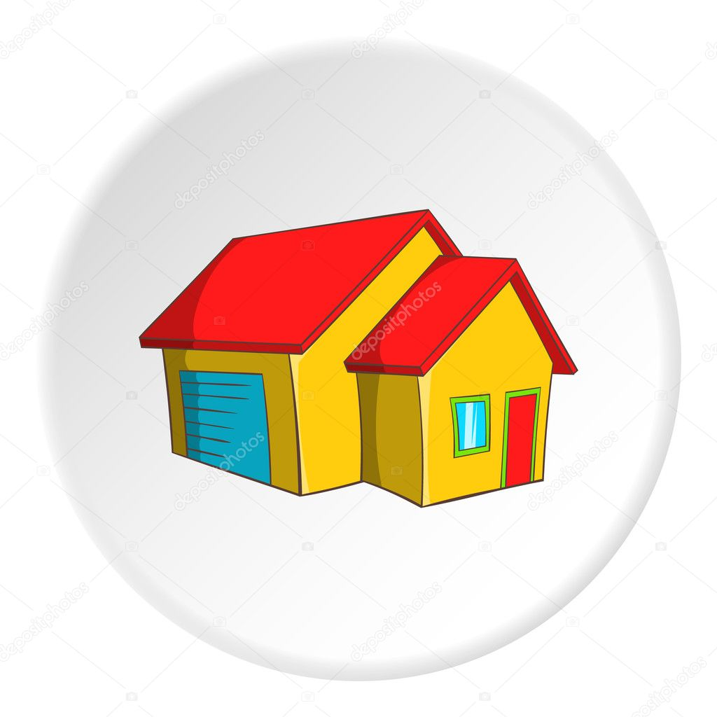 big house with garage icon cartoon style ストックベクター