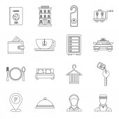 Hotel icons set in outline style